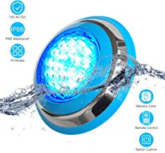 54W RGB Color Changing LED Pool Light, 12V IP68 Swimming Pool Light Underwater Surface/Wall Mounted Light Fixture, Stainless Steel, Color Memory, Remote Control and Switch Control(AC/DC)