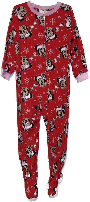 Santa Minnie Mouse Toddler Fleece Christmas Fleece Pajama Sleeper, Size 5T Pink, Red