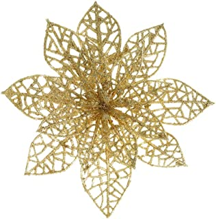 XmasExp 10 Pcs Glitzy Gold Poinsettia Bushes Christmas Tree Ornaments, Glitter Poinsettia Flowers Christmas Decorations