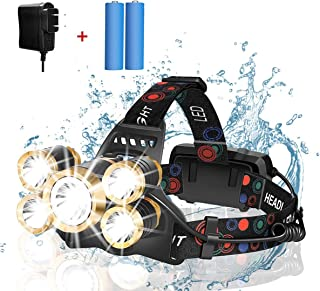 Headlamp Rechargeable, LOVNOV 12000 Lumen Ultra Bright 5 LED Headlight Flashlight, Brightest Rechargeable Headlamps, Water...