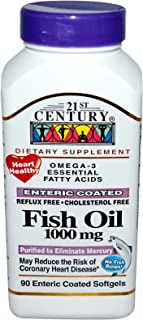 21st Century Fish Oil 1000 mg Enteric Coated Softgels, 90 Count
