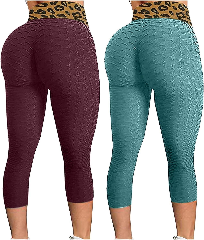 2 Pack Butt Lift Leggings for Women,Anti Cellulite Workout Leggings for Women Ruched Butt Lifting Yoga Pants Tummy Control Tight Leggings