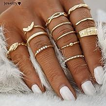 Elistelle 12 pcs Midi Ring Set Damen Boho Ringe Finger Tip Ring Schmuck