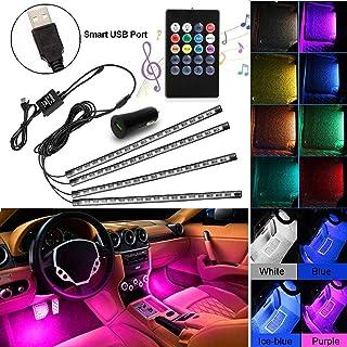 Car LED Strip Lights, AXELECT 48 LED Interior Lights-Multicolor Music Car Interior Lights Under Dash Lighting Kit with Sou...