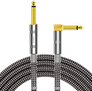 NUOSIYA 20 Ft Guitar Instrument Cable, pro mono gold-plated plug audio cord 20 feet, right angle 1/4 inch TS to straight 1/4 inch TS, black gray tweed cloth jacket, universal electric guitar/bass.