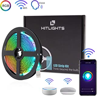 HitLights Smart WiFi LED Strip Lights, 16.4FT RGB 5050 LED Light Kit Working with Alexa, Google Home Phone APP Controlled, for Home, Kitchen, TV, Party & DIY Decoration