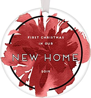 First Christmas New Home Ornament 2019 Dated 1st Time Homeowners Gift Idea House Warming Wedding Presents for Couple Chic Abstract Red Floral Home Decor Housewarming Gift Basket 3