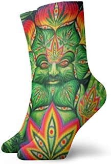 Elsaone, Third Eye Cannabis Leaf Weed Marihuana Calcetines divertidos Calcetines locos Calcetines casuales para niñas Niños