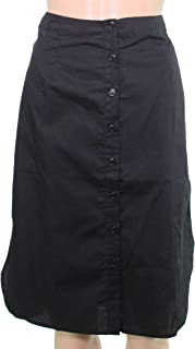 Lark & Ro Women's Skirt Black Small S Straight Button Front Tie-Back