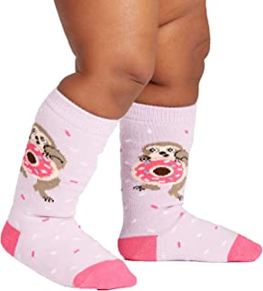 Sock It to Me, Toddler Children's Knee High Socks: Snackin' Sloth - Pink - Fits Kids Ages 1-2