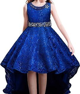 b621337c97699 HUANQIUE Robe de Mariage Fille Princesse Demoiselle d Honneur Robe à Queue  d aronde