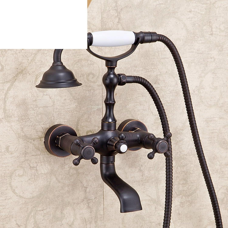 Kupfer Retro-Dusche Einfaches Badezimmer Dusche Hei und kalt Wasserhahn Dusche Kit-B