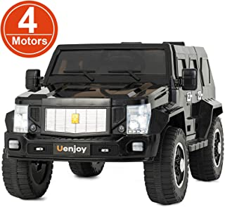 Uenjoy 12V Kids 4WD Electric Ride on Car 4x4 Motorized ORV Truck Battery Powered Children Electric Vehicles w/Remote Control, LED Lights, Music, Horn, Suspension, Lockable Doors, Black
