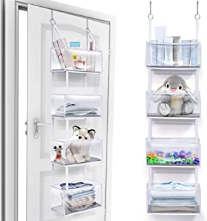 ULG Over The Door Hanging Organizer, [Large Capacity & Ultra Sturdy] 4 Clear Window Pocket Organizer for Storage,Door Orga...