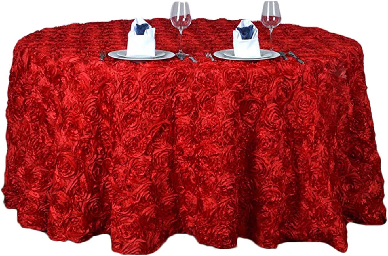 Liveinu 3D Satin Large-scale sale Raised Rosettes 4 years warranty Party Ta Cover Table Tablecloth