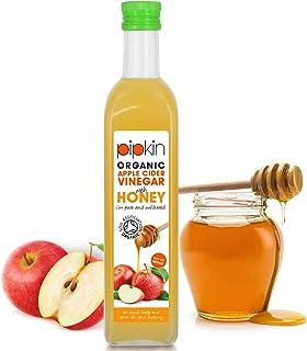 Pipkin Vinagre de Sidra de Manzana con Miel 100% Bio Orgánico, Con Madre, Crudo Puro ACV, Sin GMO, Sin Refinar, Sin Filtrar, Vegano y Vegetariano, Kosher