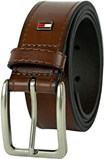 Tommy Hilfiger Brown Leather Belt - Dress or Casual for Men Jeans with Thick Strap with Stitching and Silver Buckle