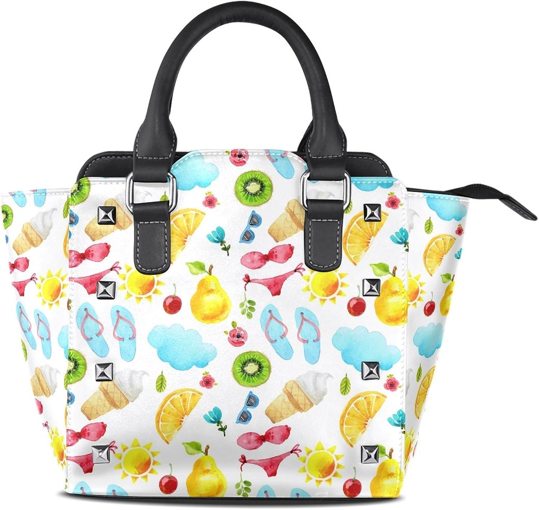 My Little Nest Women's Top Handle Satchel Handbag Watercolor Cute Summer Items Ladies PU Leather Shoulder Bag Crossbody Bag