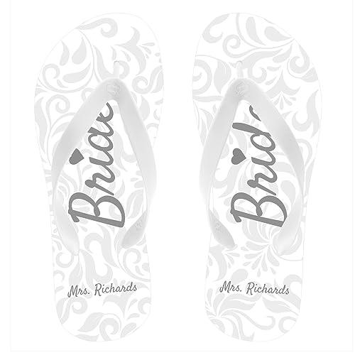 37651cf8f111e6 Personalized Bride Flip Flops White