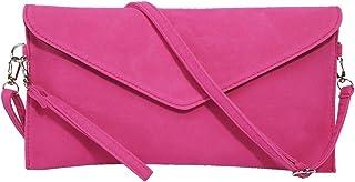 bolso de mano para mujer, de ante sintético, con correa en bandolera