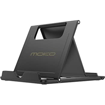 MoKo Phone/Tablet Stand, Foldable Desktop Holder Fit with iPhone 11 Pro Max, iPhone SE, iPad Pro 11, 10.2 (8th Gen), Air 4 10.9, Air 3, Mini 5, Galaxy S20, Tab S7, Black