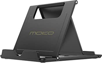 MoKo Phone/Tablet Stand, Foldable Desktop Holder Fit with iPhone 12 Pro Max / 12 Mini, 11 Pro Max, iPhone SE, iPad Pro 11, 10.2 (8th Gen), Air 4 10.9, Air 3, Mini 5, Galaxy S20, Tab S7, Black