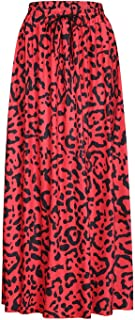 Fairly Womens Leopard Print Drawstring Pleated High Waisted Bohemian Maxi Skirt DIY Skirts 9415,Yellow,XXL