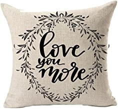QINU KEONU Love You More Bless This Nest Vine Wreath Olive Branch Cotton Linen Throw Pillow Case Cushion Square Cover Home Sofa Decorative 18 x 18 inch (B)