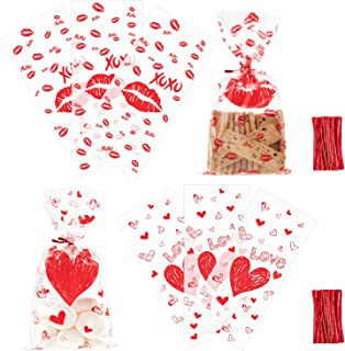 Whaline Valentine Cellophane Bags 100 Pieces Candy Treat Bags, Valentine Gift Bags Plastic Clear Cello Bags Party Favor Gifts Bags, 2 Styles with 100 Twist Ties