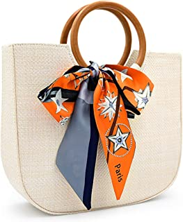 Straw Handbag for Women Summer Beach Straw Handbag Wooden Ring Tote Crossbody Shoulder Bag With Leather Strap