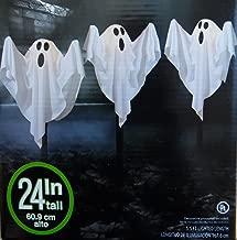 WM 3 Cloth Ghost Lawn Stake Path Lights Halloween Yard Decoration 24 Inches Tall