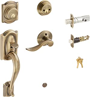 Schlage F62CAM609ACCLH Camelot Handleset Keyed 2-Sides with Accent Left-handed Lever, Antique Brass