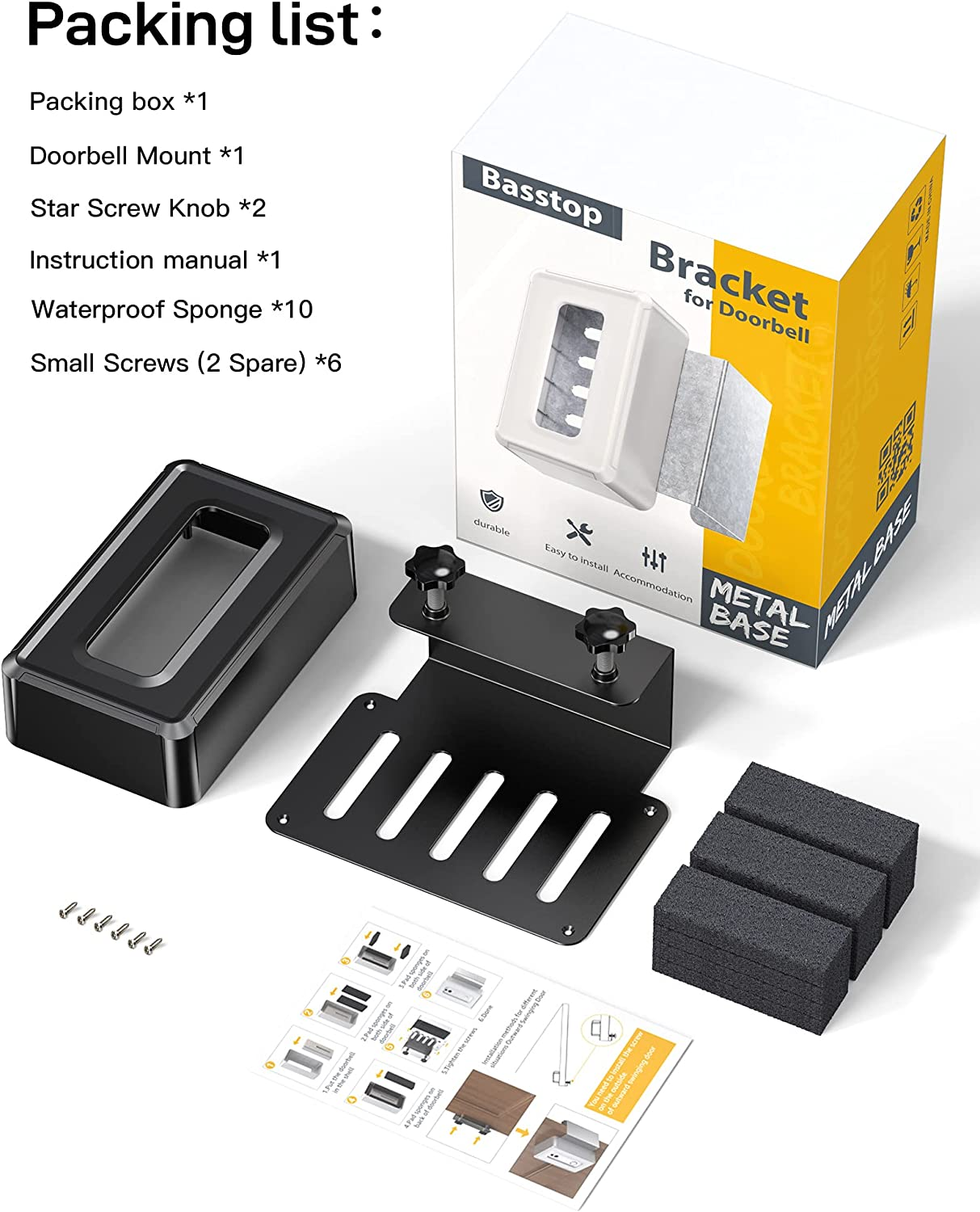 Kits Black Fit for Most Kind Brand of Video Doorbell Video ...