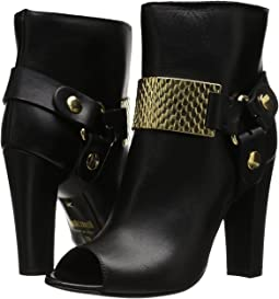 Peep Toe Bootie with Gold Hardware