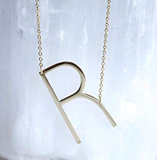 Block Personalized Letter R Gold-Plated Necklace