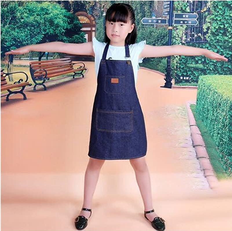 Adjustable Unisex Kids Jeans Apron For Boys Girls Apron Chef Cotton Denim Apron With 3 Pockets Kitchen Cooking Baking Wear Gardening Painting BBQ Art DIY Drawing