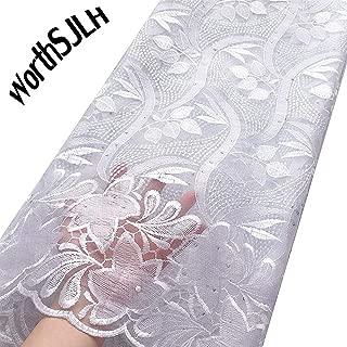 WorthSJLH African Lace Fabric 2019 Cord Nigerian Lace Fabric Wedding French Tulle Net Lace Fabric for Dresses J842 (White)