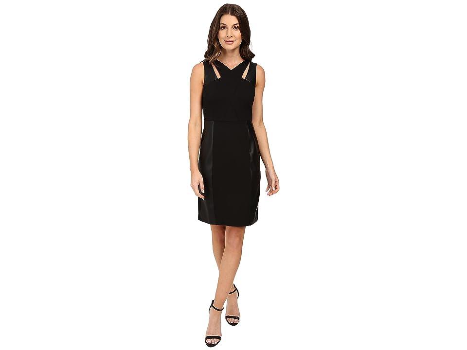 Laundry by Shelli Segal Sheath Dress w/ Cut Outs Faux Leather (Black) Women