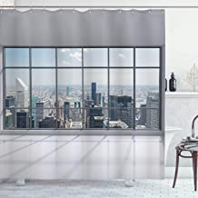 Ambesonne City Shower Curtain, Clean Office with Big Window Downtown Skyscraper Buildings Domestic Cityscape Art, Cloth Fabric Bathroom Decor Set with Hooks, 84 Long Extra, Grey Blue