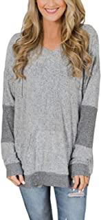 Ecrocoo Women Color Block Long Sleeve V Neck Drawstring Pullover Hoodie Sweater Tops