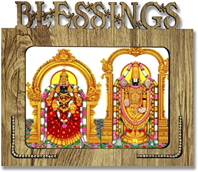 PnF Blessings Hand Crafted Wooden Table with Photo of Tirupati Balaji - Lord Venkateswara Size of Photo Frame (9 * 7.75inch, Multicolor, MDF)