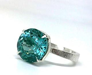 Maravilloso anillo con excepcional Turmalina Azul/Verde CERTIFICADA natural de 7.7 quilates.