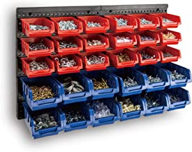 30 Bin Wall Mounted Rack Storage Organiser - Wall Shelf Boxes Bins - Removable & Stackable - Ideal for Handyman, Garages, Shop, Sheds or Hobby Room