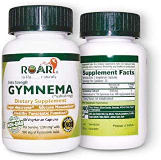 Gymnema Sylvestre 1200 mg (Highest Potency) Extract Veg Capsules with 75% Gymnemic Acids as Sugar Destroyer & for Blood Su...