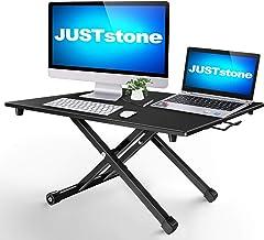Standing Desk Converter Computer Workstation Adjustable Height, JUSTSTONE Stand Up Desk Riser for Standing or Sitting Home...