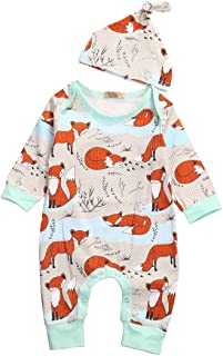 Newborn Baby Boy Girl Romper Infant Fox Jumpsuit Long Sleeves Outfits Clothes