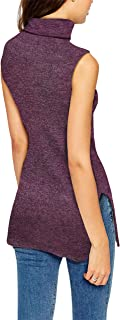 Womens Super Comfy Sleeveless Turtleneck Tunic Sweater