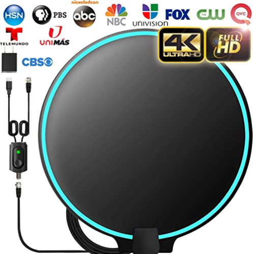 [Upgraded 2020] Amplified HD Digital TV Antenna Long 200+ Miles Range - Support 4K 1080p Fire tv Stick and All Older TV's Indoor Powerful HDTV Amplifier Signal Booster - 18ft Coax Cable/AC Adapter product image