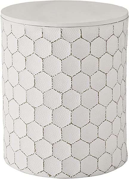 DK Furniture Polly Accent Indoor Outdoor Table Contemporary White Finished Hammered Metal Honeycomb Design