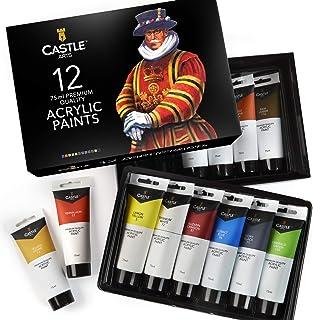 Castello arte forniture 12 grandi 75ml acrilico vernici impostare tubi per adulti artisti bambini bambini   ideale vernice...